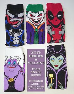 ANTI HERO VILLAIN ANKLE SOCKS Ladies Mens JOKER Deadpool VENOM Maleficent URSULA