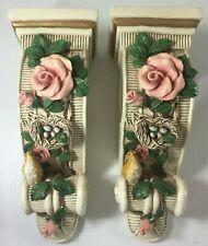 Vintage Rose Bird Window Curtain Drapery Rod Bracket Wall Sconce Holders Lot 2