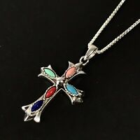 Silver Cross Pendant 925 with18 Inch Sterling Chain Multi-color Marquise Stones