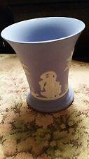 "Wedgewood vase/cup blue England Jasperware 4"" trumpet flare fine collectible"