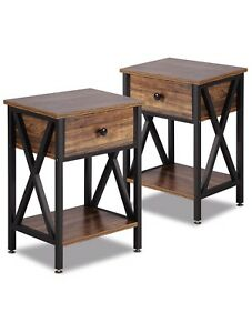 Modern Wooden Styled Versatile Nightstands/ End Tables Shelf And Drawer Set