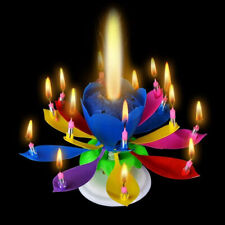 3 pack Birthday Candle Gift Multi Color Musical Candle Lotus Rotating Play Music