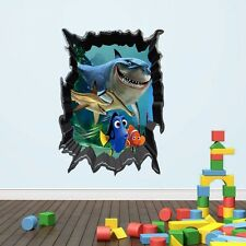Shark Nemo Fish Under the Sea 3D Wall Removable Decals Bathroom Sticker Kids