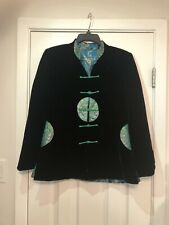 Reversible Black Velvet Chinese Brocade Jacket Blazer Turquoise Brocade