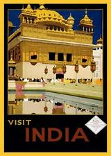 INDIA TRAVEL POSTER, HARMANDIR SAHIB, GOLDEN TEMPLE, AMRITSAR, MAGNET