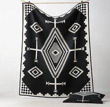 """New PENDLETON Throw Blanket Los Ojos Reversible Black White Polyester 50"""" x 70"""""""