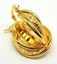 NEW PAIR 9CT YELLOW GOLD  FINISHED CREOLE HOOP EARRINGS JEWELRY