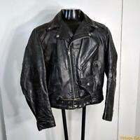 EXCELLED Vtg Leather MOTORCYCLE Biker JACKET Mens Size M 40 Black insulated