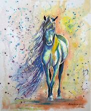 "Arabian horse.Original watercolor painting 11""x14"" Art,animals,green,Portrait,"
