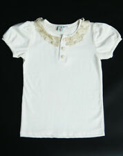White Polo Shirt with Gold Collar Embroidery ; White