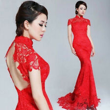 Backless Cap Sleeves Lace Bridal Wedding Ball Prom Gown Formal Evening Dress NEW