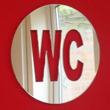 Round WC Sign Acrylic Mirror (Several Sizes Available)