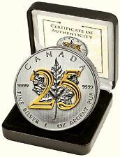 Maple Leaf 2013 25j. jubil. - édition 5 $1 OZ Argent plaqué or/Gilded 525ex.!