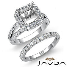 Diamond Engagement Ring Asscher Wedding Bridal Set Platinum 950 SemiMount 2.38Ct