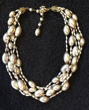 Vintage 5 Strand Beaded Necklace Signed Miriam Haskell