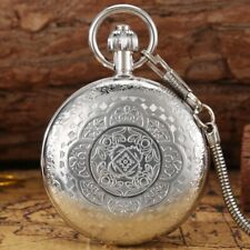 Silver Copper Pocket Watch Auto Mechanical Watches Luminous Hands Pendant Chain