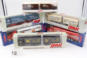 AMW WIKING ALBEDO HO 1/87 LOT #12 - 6 x CAMIONS RENAULT MERCEDES US AVEC BOITES