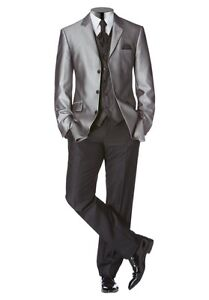5Tlg. Studio Coletti Anzug Set K-Gr.24,25,26 NEU Silbergrau/Schwarz Herren Suit