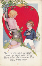 VALENTINE´S DAY; Boy holding bouquet of flowers talking to girl in tree, 00-10s
