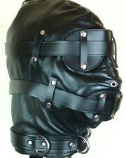 100% GENUINE LEATHER SENSORY DEPRIVATION HOOD BONDAGE