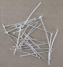 100 TIGES CLOUS TÊTE PLATE 30 mm en métal couleur argenté perle,fimo,-ttp203