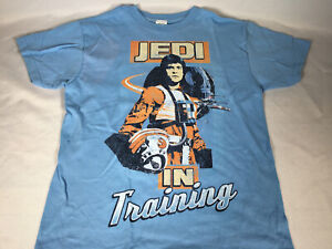 Star Wars Luke Skywalker Jedi In Training T Shirt Blue  X-Wing Youth SMALL NEW