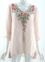 Johnny Was Pink Floral Embroidered 1/2 Sleeve V-Neck Blouse Medium