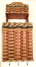 Solid Mahogany Basket Wall Organizer with hooks Handmade by FOXCREEK BASKET CO