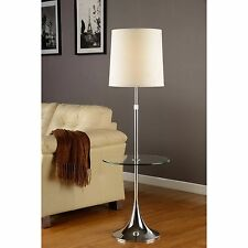 Enzo Modern Adjustable 52 to 65-inch Chrome Floor Lamp with Tempered Glass Table