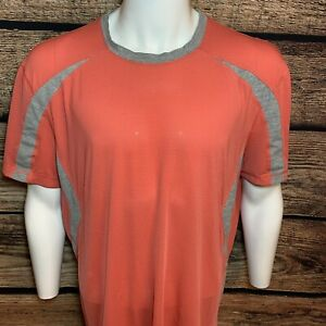 Lululemon Mens Size 2XL Short Sleeve Workout Athletic T Shirt Red/pink B3 *read*