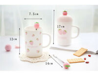 Creative Strawberry Ceramic Mug Coffee Milk Water Cup Home Office With Lid+Spoon