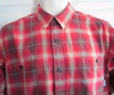 PATAGONIA Men's SMALL Red Plaid 100% Organic Cotton Button Front Long Slv Shirt