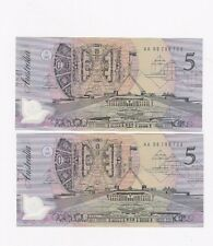 $5 Dollar Banknotes CONSECUTIVE PAIR 1992 POLYMER ORIGINAL COLOUR  A 86786722/23