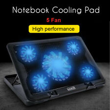Laptop Cooling Pad 5 Fans Gaming Notebook Cooler LED Fan Dual USB Base Mat )(%