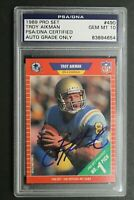 Troy Aikman Dallas Cowboys Signed 1989 Pro Set #490 Autograph ROOKIE Card PSA 10