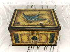 More details for blue bird chocolate toffee-gold, treasure chest style- vintage shop display tin