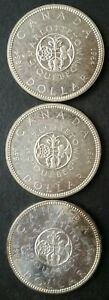 Lot of Three 1964 Canada $1 Silver Dollars