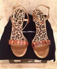 Dolce And Gabbana Bronze And Tan Sandals Size 8.5