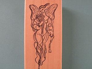 Winged Female w/Bouquet 'Emerganca' ACEY DEUCY Rubber Stamp Lynne Perrella