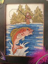 Fly Fishing counted cross stitch magazine pattern, fabric & floss lot