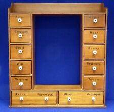 "12-Drawer Hanging WOOD CABINET For Spices. Primitive Style. 23""Hx 20.5""Wx4.5""D"