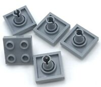 Lego 5 New Light Bluish Gray Plates Modified 2 x 2 with Pin on Bottom Parts