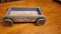 Vtg Wooden BELL GONG CO. Red Wagon with Chickens & Ducks pull toy bell wheels