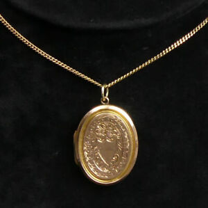 FINE 9 CT ROSE GOLD BACK & FRONT LOCKET & 9 CT GOLD 48 CM CHAIN - 7.3 GRAMS