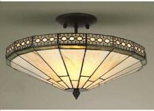 MISSION TIFFANY STYLE GLASS HANDCRAFTED SEMI FLUSH CEILING LIGHT