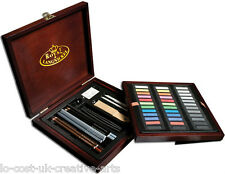 ROYAL LANGNICKEL ARTIST PREMIER DELUXE SOFT PASTEL & PENCIL WOODEN BOX SET 56PC