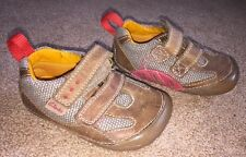 Baby Boys Clarks First Shoes Leather Shoes Brown Uk Infant Size 3.5 F Excellent
