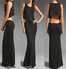 SEXY Womens Cut Out Waist Cocktail Party Club Sun Long MAXI Dress Black MEDIUM