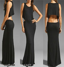 Womens Solid Cut Out Waist Cocktail Party Club Wear Long MAXI Dress Black LARGE