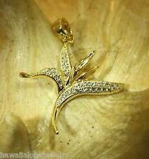 Hawaiian Bird Of Paradise Cz Pendant 23.5Mm Yellow Gold Plated 925 Ster Silver